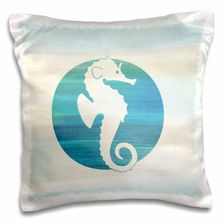 3dRose White Sea Horse in aqua circle beach theme art, Pillow Case, 16 by 16-inch](Beach Theam)