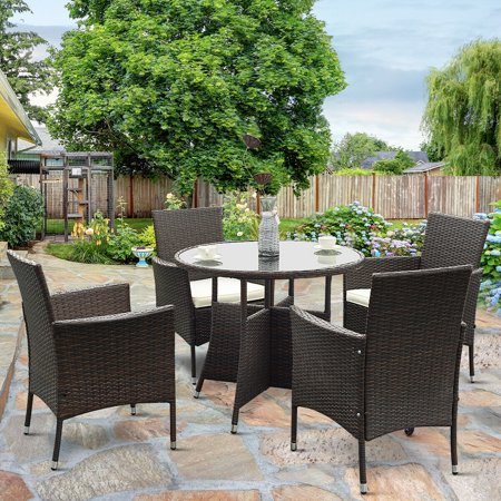 Gymax 5 Piece Furniture Dining Set PE Wicker Cushioned Outdoor Garden Patio ()