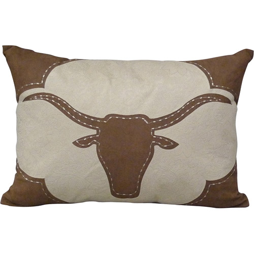 Better Homes and Gardens Faux Suede Longhorn Decorative Pillow with Fringe, Chocolate