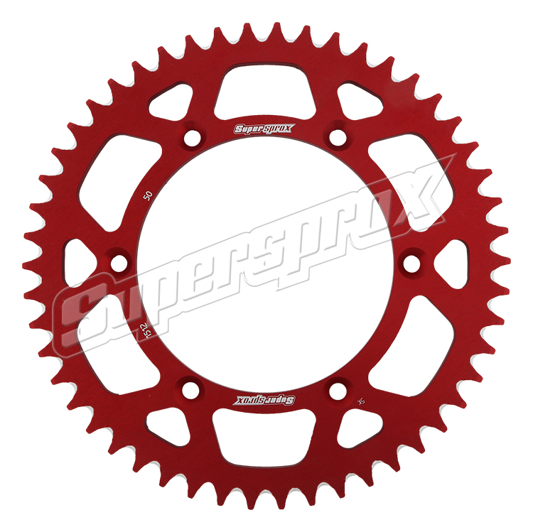 New Supersprox Red Aluminum Sprocket, 50T, Chain Size 520, Ral-1512-50-Red
