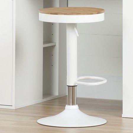 Stupendous South Shore Crea Adjustable Metal Stool With Wood Seat White Evergreenethics Interior Chair Design Evergreenethicsorg