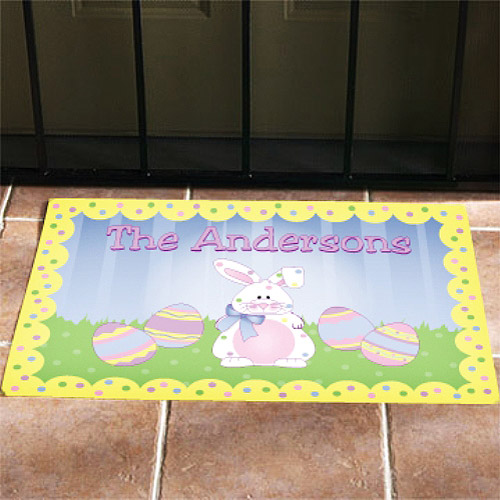 Personalized Polka Dot Bunny Easter Doormat