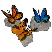 Brass Baron Henri Studio Butterfly on Rock Set of 3