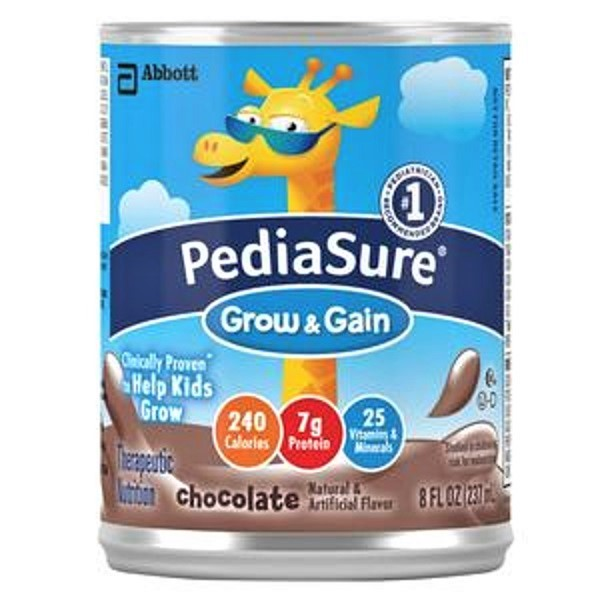 PediaSure Grow & Gain Nutrition Shakes, Chocolate, 8 oz Cans - Pack of 6