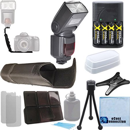 Digital Auto Power Zoom Auto-Focus Flash with LCD Display for Canon, Dual Shoe Right Angle Flash Bracket, 4 AA Batteries & Charger, an eCostConnection Deluxe Accessories Kit