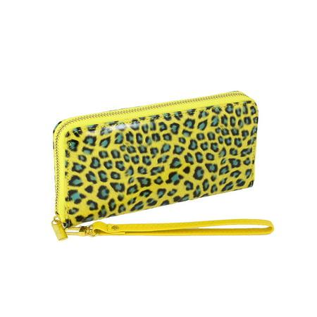 Unique Bargains Yellow Teal 3 Sections Zipper Stylish Wallet Bag Purse Handbag w Wrist Strap