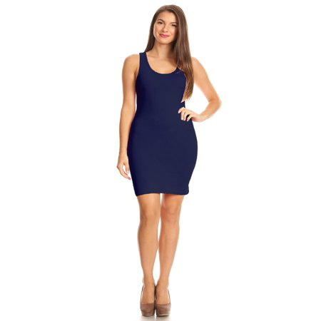 Fitted Jersey Dress (MOA COLLECTION Women's Solid Casual Sexy Sleeveless Jersey Racer Back Bodycon Knit Mini Dress)