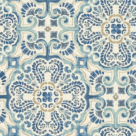 NuWallpaper Blue Florentine Tile Peel & Stick Wallpaper