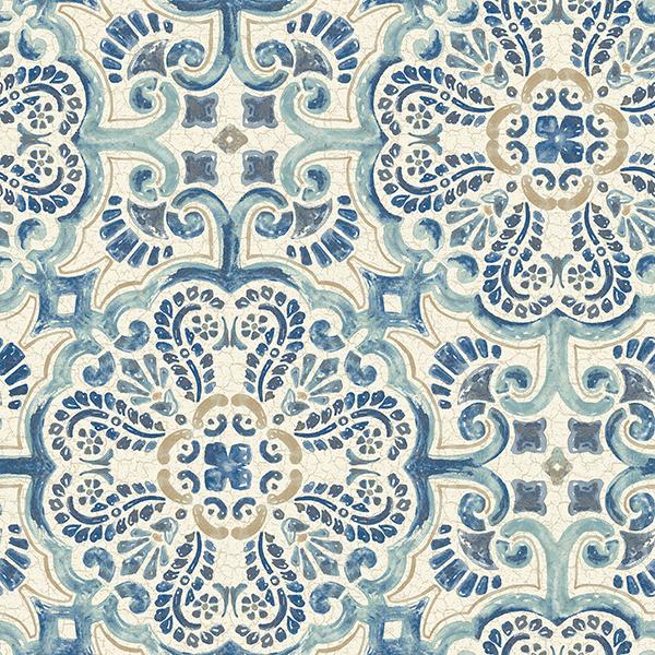 NuWallpaper Blue Florentine Tile Peel & Stick Wallpaper