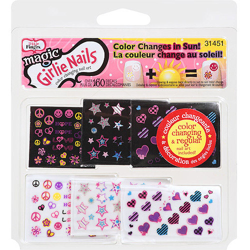 Little Fing'rs Girlie Nails Magic Color Changing Nail Decals, 160 count