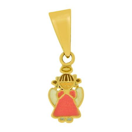 14k Yellow Gold, Mini Angel Design Pendant Charm Colorful Enamel Layer
