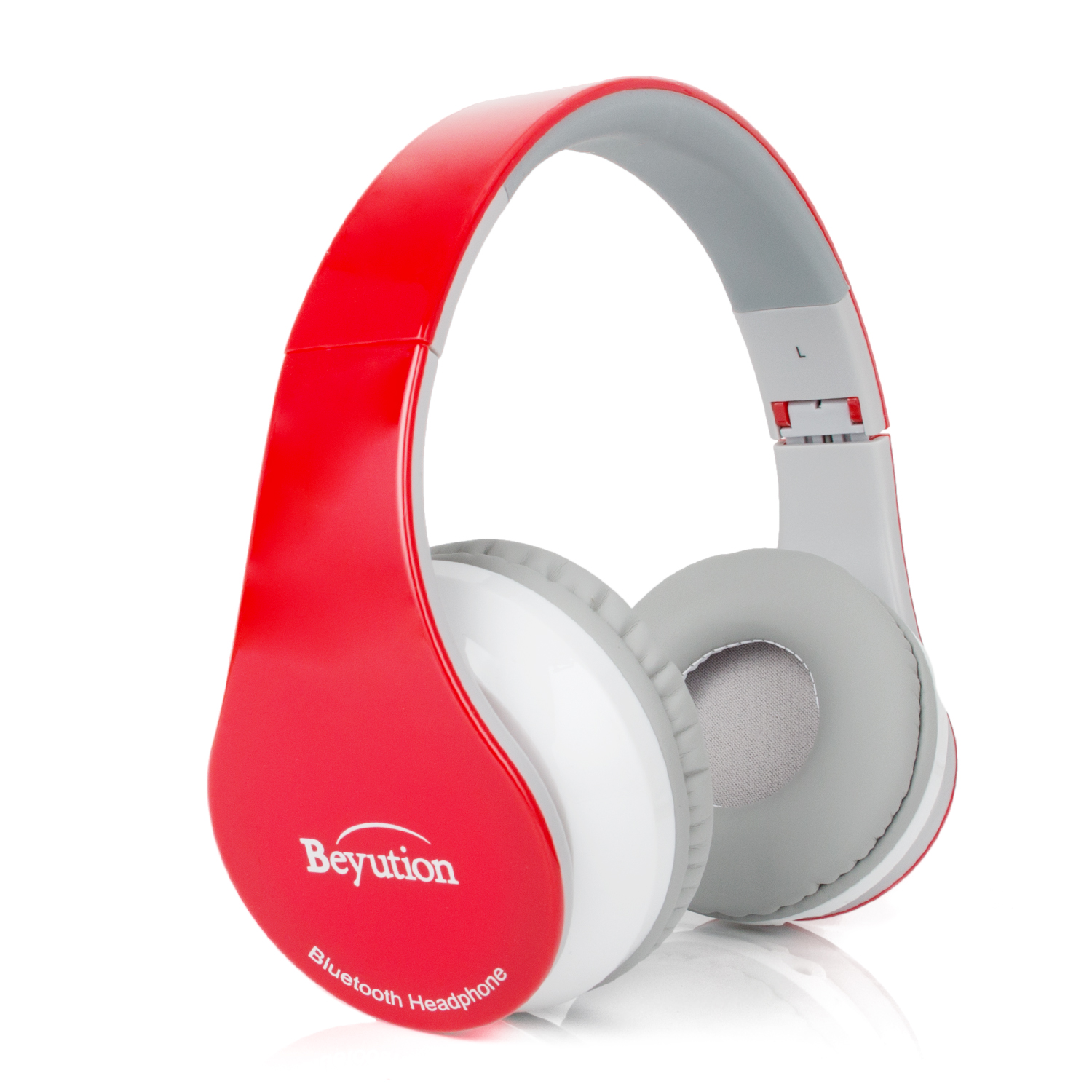 Beyution V4.1 Bluetooth Headphones Wireless Foldable Hi-fi Stereo Headphone with Micphone for Smart Phones & Tablets - Red