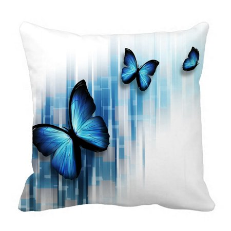 PHFZK Abstract Pillow Case, Three Blue Butterflies Pillowcase Throw Pillow Cushion Cover Two Sides Size 18x18 inches