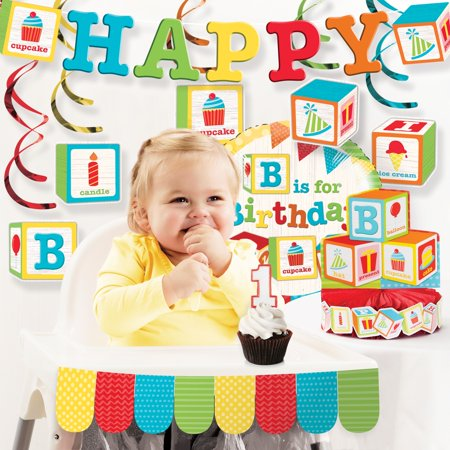 ABC Blocks 1st Birthday Decorations Kit - Glass Block Decoration