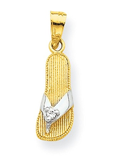 STERLING SILVER DECORATED FLAT FLIP FLOPS CHARM//PENDANT