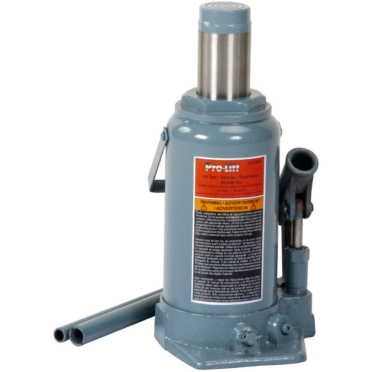Pro-Lift B-033D Grey Hydraulic Bottle Jack, 30 Ton Capacity