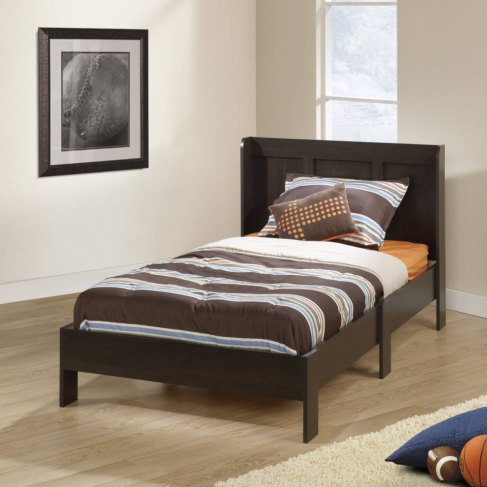 Sauder Parklane Twin Platform Bed with Headboard, Espresso