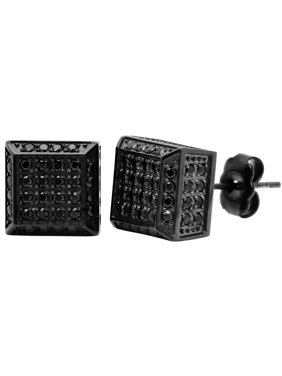 Product Image Men S Stainless Steel Black Cz Pave Square Stud Earrings
