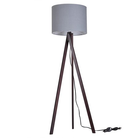 ghp grey lampshade fabric black walnut tripod stand foot switch 57 floor lamp shade. Black Bedroom Furniture Sets. Home Design Ideas