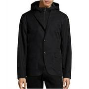 Michael Kors Mens Laser-Cut Hybrid Blazer Jacket, Black, Medium