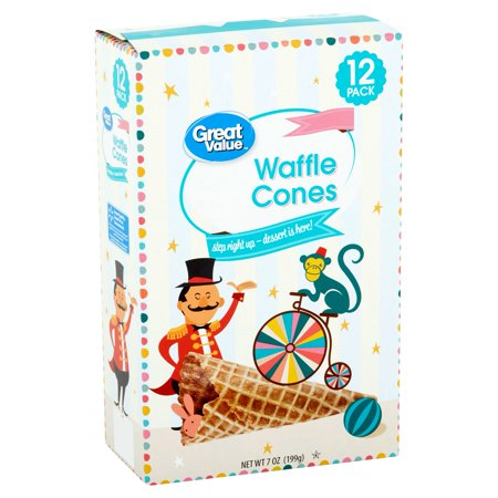 (3 Pack) Great Value Waffles Cones, 12 count