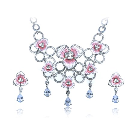 Swarovski Crystal Elements Bridal Pale Pink Flowers Orbs Necklace Earring Set (Swarovski Flowers)
