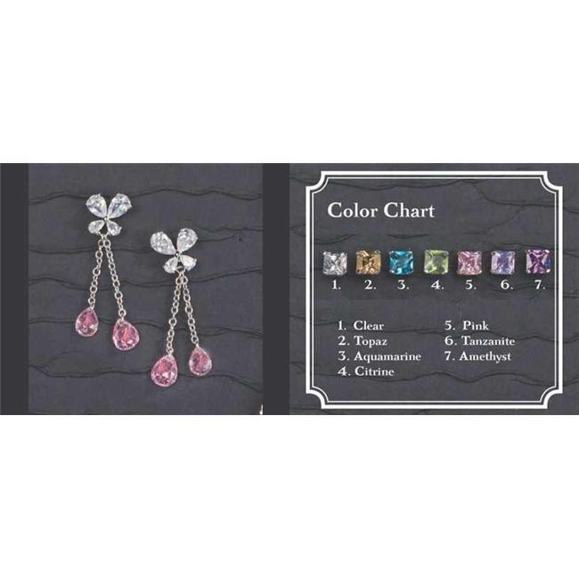 Beverly Clark 56-2250/PNK Silver Flower Earrings With Chain Pink Teardrop