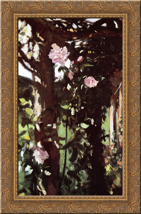A Rose Trellis (Roses at Oxfordshire) 18x24 Gold Ornate Wood Framed Canvas Art by Sargent, John Singer by FrameToWall