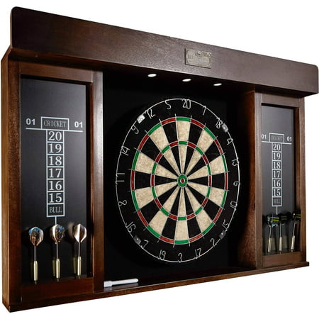 Barrington 40 Inch Dartboard Cabinet with LED (Ncaa Wood Dartboard Cabinet)