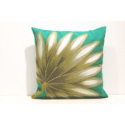Palm Fan Teal Print 20in.X20in. Decorative Throw Pillow