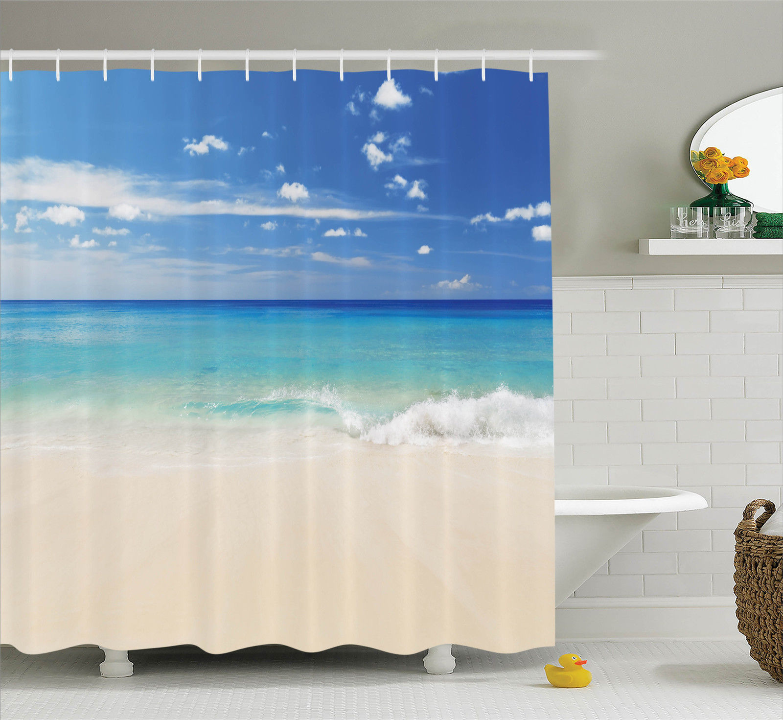 Ocean Decor Shower Curtain Set, Tropical Haven Style Sandy Shore And Sea  With Waves Escape