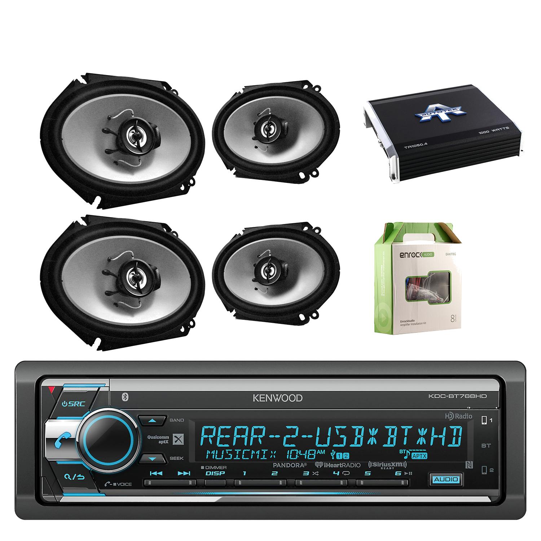 Kenwood Single Din CD/AM/FM Car Audio Receiver with Bluetooth with Kenwood Sports Series 6.8 Inch 250Watt 2-Way Car Audio Coaxial Black Speakers 2- Paris, Autotek 4.chan Amplifier & Enrock Wiring Kit