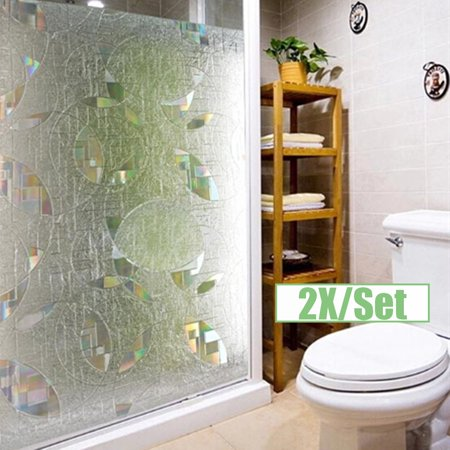 2x/Set 35.4x19.7'' 3D PVC Static Cling Window Film Waterproof Removable Decorative Frosted Vinyl Kitchen Bathroom Decor Static Cling Set