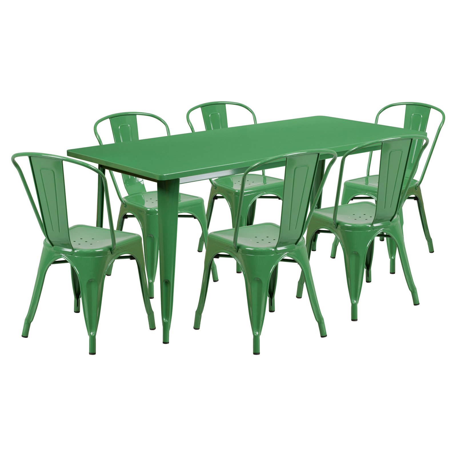 Flash Furniture 31.5'' x 63'' Rectangular Metal Indoor-Outdoor Table Set with 6 Stack Chairs, Multiple Colors