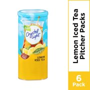 (12 Pitcher Packs) Crystal Light Lemon Iced Tea, Caffeinated Powdered Drink Mix, 1.4 oz cans