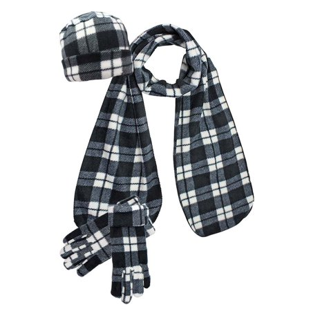 Black Ribbed Scarf (Black & White Plaid Fleece 3-Piece Hat Scarf & Gloves Matching Set )