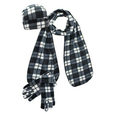 Black & White Plaid Fleece 3-Piece Hat Scarf & Gloves Matching Set