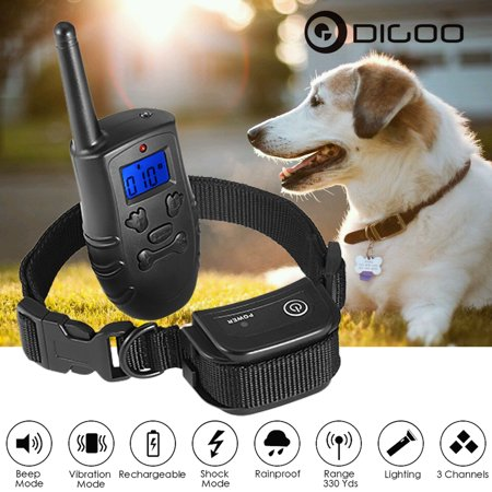 Digoo Dog Training Collar Rechargeable Waterproof Pet Dog Training Equipment Bark Training Collar Trainer LCD Electric Remote Control Adjustable Size 3 Modes Beep Vibration Shock