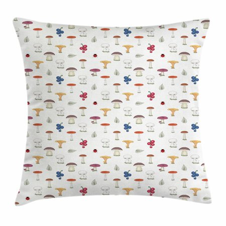 Mushroom Throw Pillow Cushion Cover, Chanterelles Button and Wild Fungus Repeating Pattern with Berries and Leaves, Decorative Square Accent Pillow Case, 16 X 16 Inches, Multicolor, by - Wild Chanterelle Mushrooms