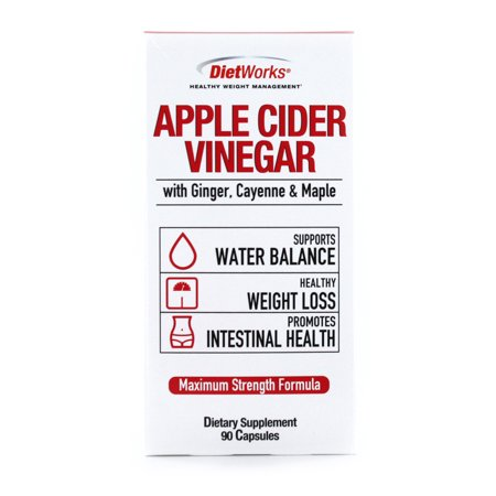 DietWorks Apple Cider Vinegar Capsules with Ginger, Cayenne & Maple, Maximum Strength, Water Balance, Health Weight Loss, Promotes Intestinal Health, 90 caps, 90 servings