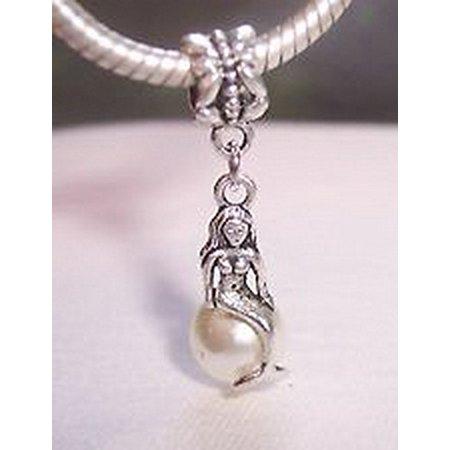 Craft Spot Global Mermaid Beige Pearl Beach Ocean Dangle Bead Fits Silver European Charm Bracelets Csg   104275