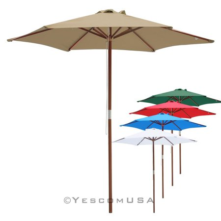 3d11000238 Yescom 13'/9'/8ft Wooden Outdoor Patio Wood Pole Umbrella for Market Garden  Yard Beach Deck Cafe Restaurant Sunshade