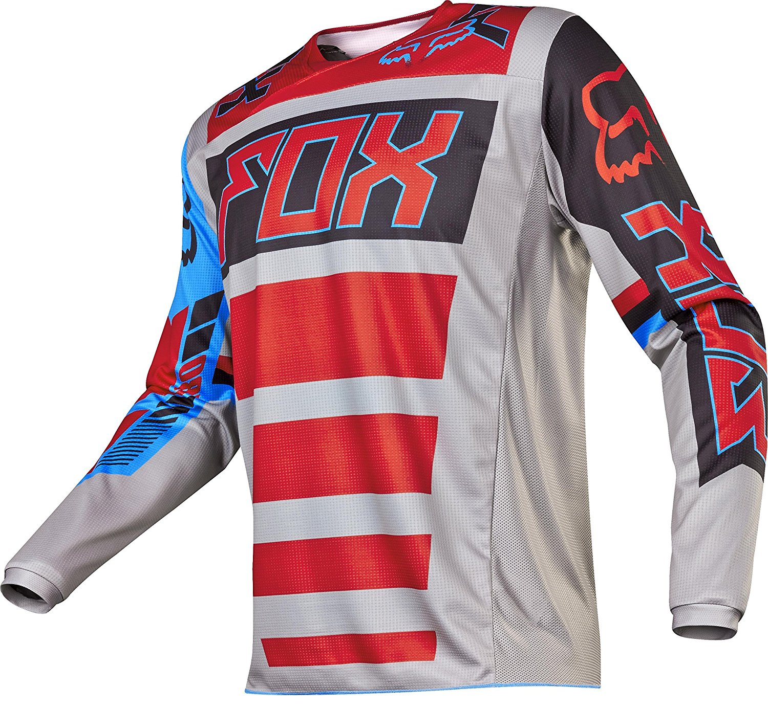 2017 180 Falcon Jersey-Grey/Red-XL, Moisture wicking polyester main body fabric for enhanced performance and comfort By Fox Racing