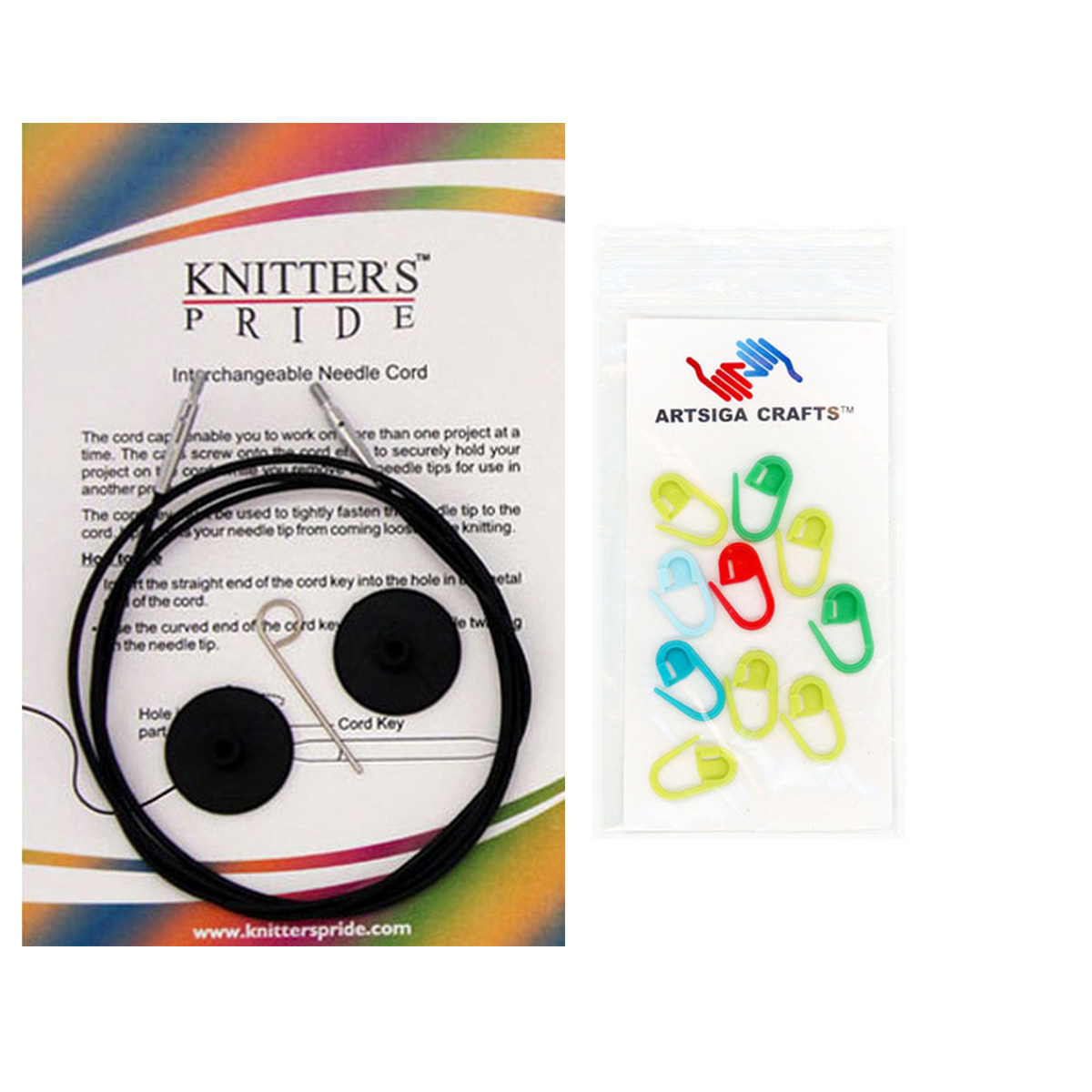 Knitter's Pride Interchangeable Connectors Bundle with 10 Artsiga Crafts Stitch Markers