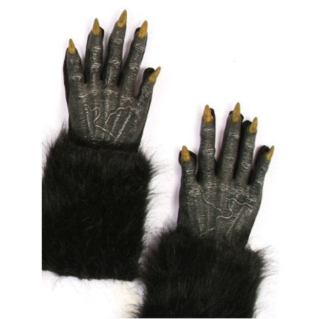 Werewolf Gloves - Black Wolf Evil Fur Halloween Adult 16