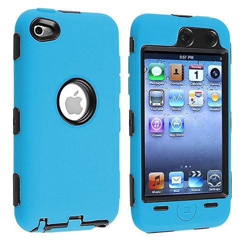 Hybrid Hard Silicone Case for iPod Touch 4th Gen - Black/Blue