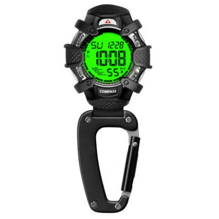 Tactical Digital, Water Resistant, Compass Clip Watch (Digital Pocket Watch)