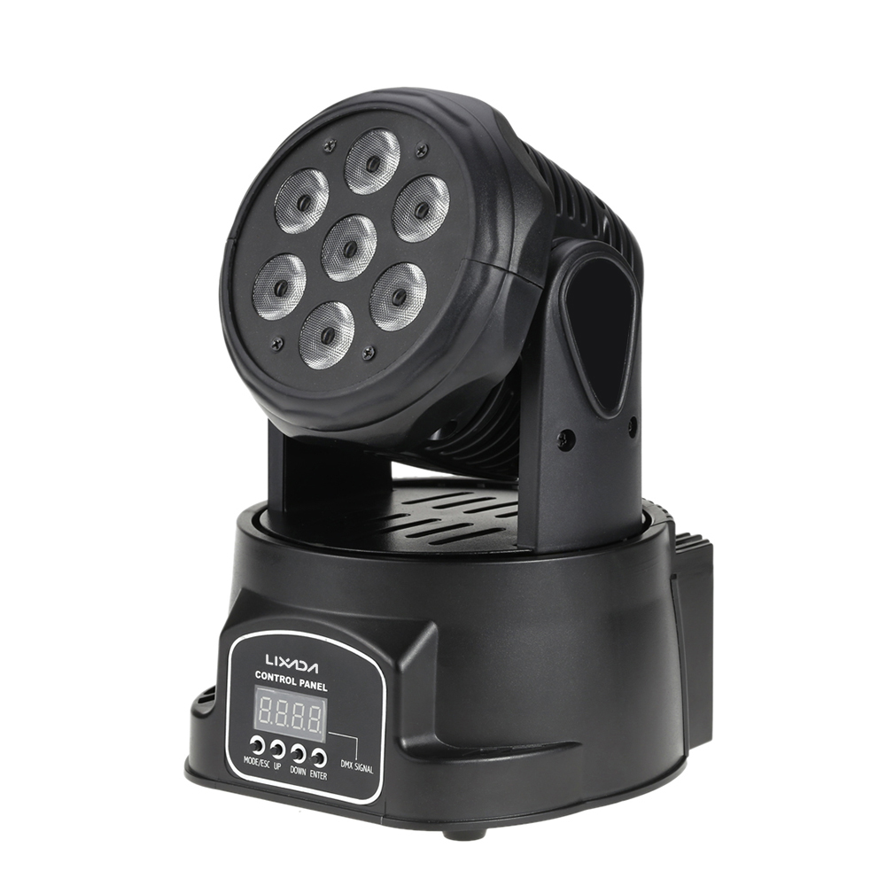 Lixada DMX-512 Mini Moving Head LED Stage Light 4 In 1 RGBW Lighting Strobe Professional 9/14 Channels