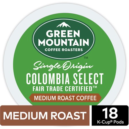 - Green Mountain Coffee Colombian Fair Trade Select, Keurig K-Cup Pod, Medium Roast, 18 Ct