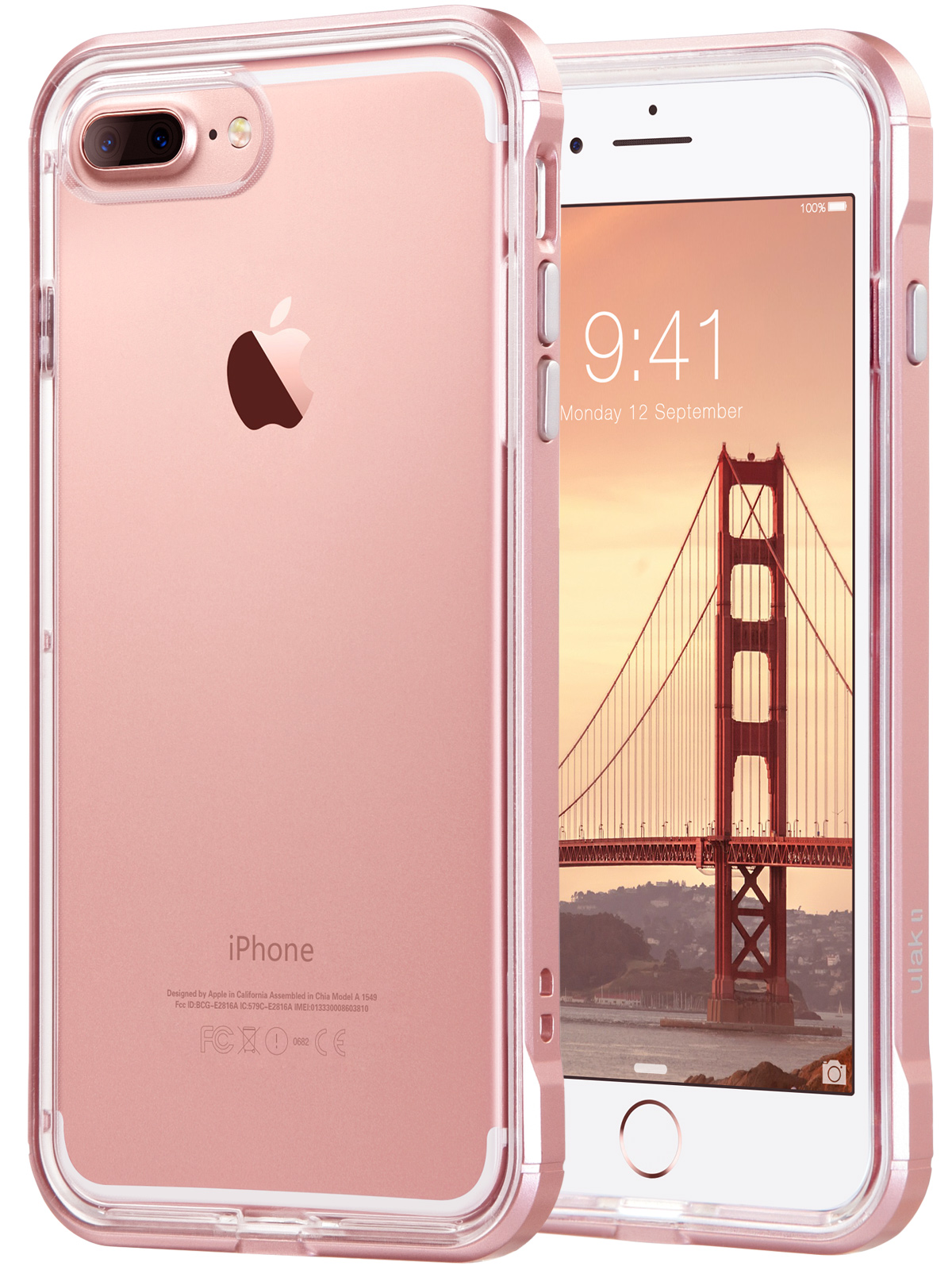iphone 7 plus cases walmart comproduct image ulak reinforced clear hybrid case for apple iphone 7 plus, rose gold